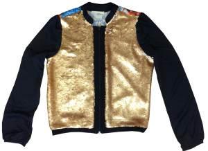 Jaqueta D'metal seda com paetês dourados_