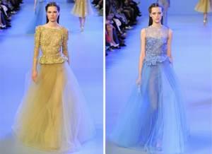 Elie Saab, preferiu dar um ar clássico a suas coleção e apostou em saias de tule aos longos festivos
